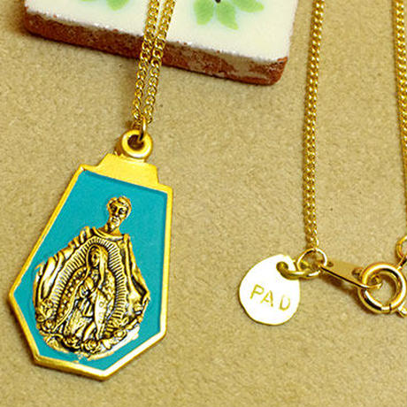 聖母マリア☆メキシコ 教会 アルミ ネックレス B ゴールド お守り アクセサリー