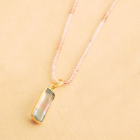 Simple Stone  { Necklace }  strawberry quartz