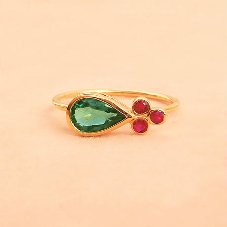 Mango Leaf  { Ring }  paraiba color tourmaline. ruby. K18