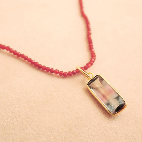 To be with you { Pendant } bi-color tourmaline. K18