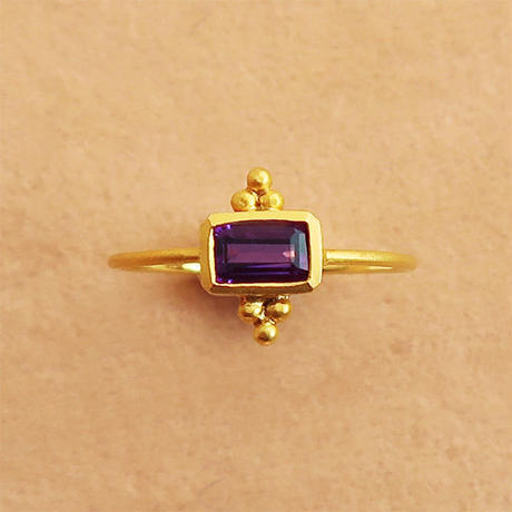 Cosmic Vibes / Square  { Ring }  amethyst. K18