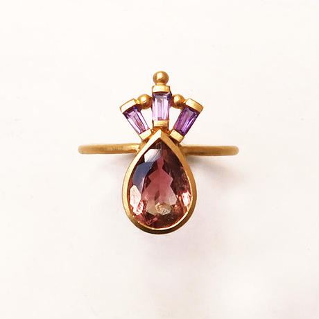 Peacock Crown  { Ring }  tourmaline. amethyst. K18