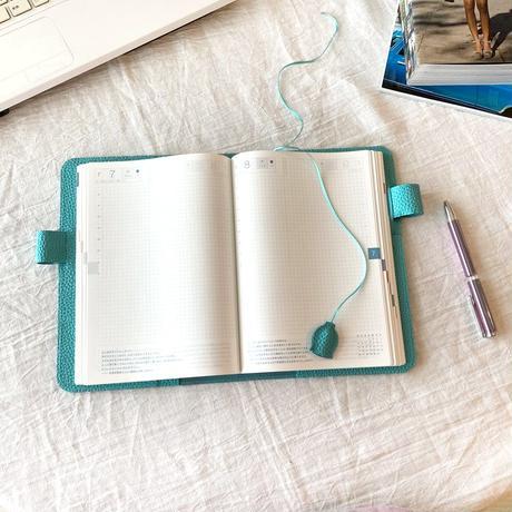 A5手帳カバー バタフライストッパー シュリンク型押しレザー【blue bloom】bb011