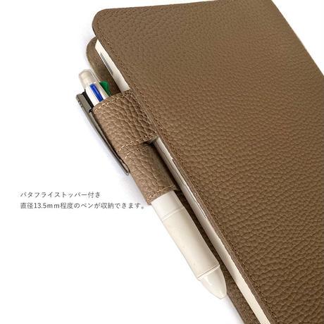 A5手帳カバー バタフライストッパー シュリンク型押しレザー【Gratia】G026