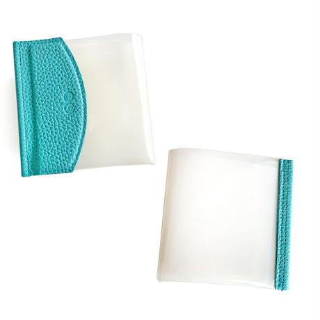 二つ折りマスクケース シュリンク型押しレザー【bluebloom】bb010