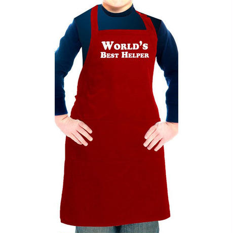 Flirty Aprons 子供エプロン World Best Helper Red