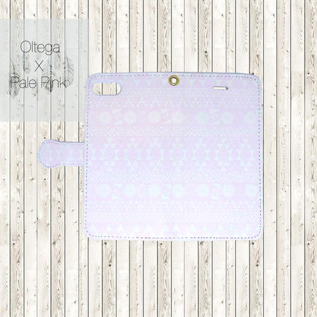 ビジュー無し ペールピンク オルテガ柄 手帳 型 スマホケース (PAJOUR)(パジュール)(チマヨ柄)