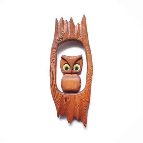 Wood Carved Owl Wall Hang