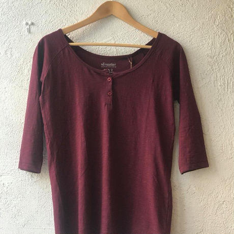 no nasties ヘンリーネックTシャツ(七分袖・エンジM) オーガニックコットン