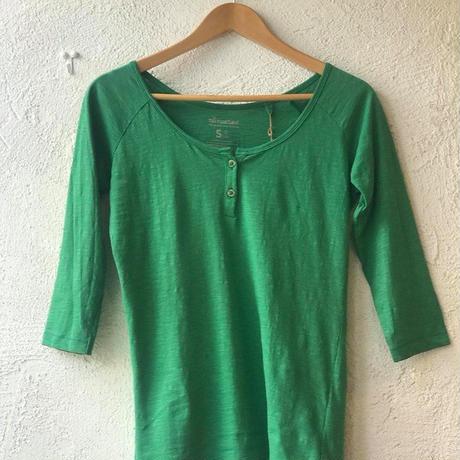 no nasties ヘンリーネックTシャツ(七分袖・グリーンS) オーガニックコットン