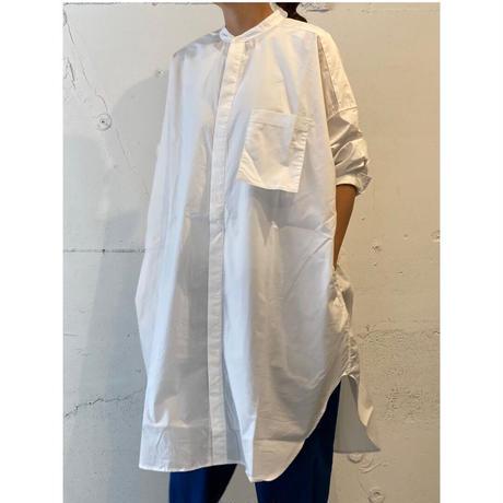 UNIVERSAL TISSU ナチュラルタイプライター バンドカラーロングシャツ スモーキーサックス