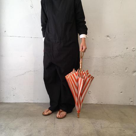 日傘 40カット ジャガード 花柄 ブラック (綿100%)