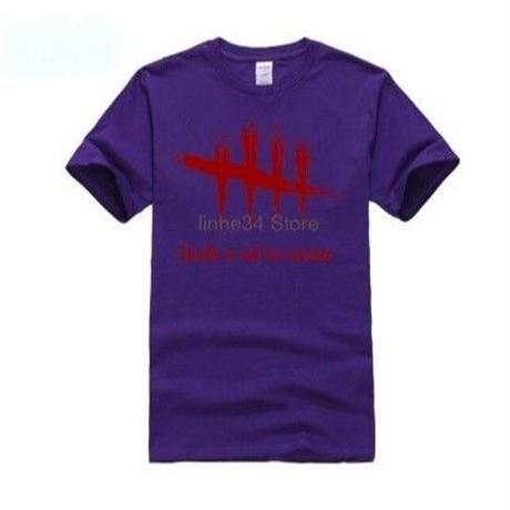 Dead by Daylight 5ライン ホラーテイスト イラストプリント 半袖 メンズ カジュアル Tシャツ S~XXXL パープル