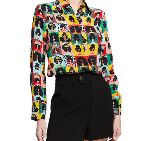 Alice+Olivia   Willa Stace Face Silk Placket Top トップス  定価$295