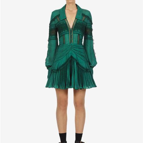 Self-Portrait     ワンピース green jacquard lace trimmed mini dress  21-11 定価$360