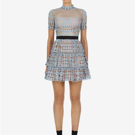 Self-Portrait     ワンピース grey blue floral lattice lace dress  21-09 定価$390