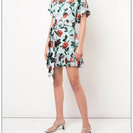 Alice+Olivia   Ellamae Ruffle Sleeve Dress ワンピース  定価$320