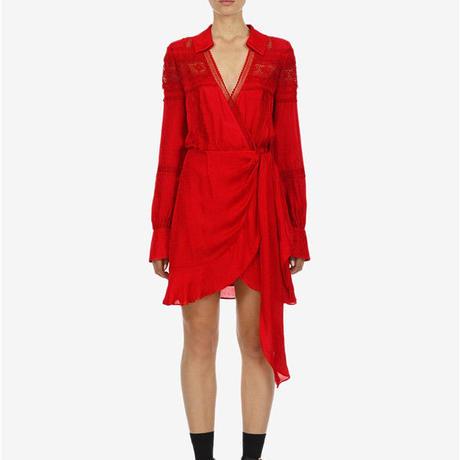 Self-Portrait     ワンピース red trimmed wrap dress  21-11 定価$360