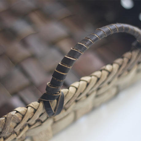 沢胡桃 取っ手付き 幅広めの置き籠 32cm×18cm 収納かご 整理かご
