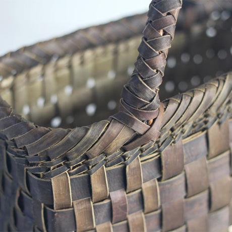 『斜めハンドル 市松』沢胡桃のかごバッグ 27cm幅