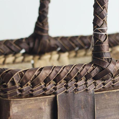 沢胡桃のかごバッグ フト編み 裏皮 36cm幅