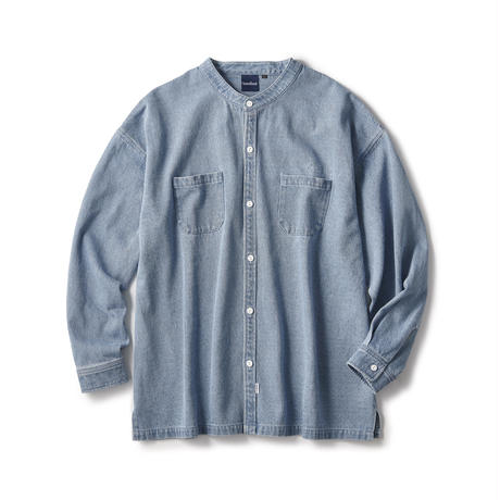 Washed Denim Stand Collar Shirt