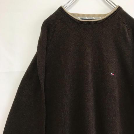 トミーヒルフィガー  セーター ブラウン XL ワンポイント 刺繍 ロゴ トミー