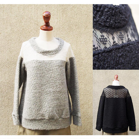【SALE】1404-06-105 Lace × Wool Pile Top