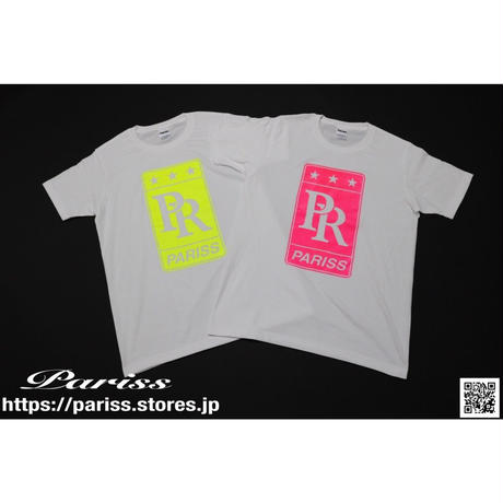 PRロゴTシャツ【ホワイト×蛍光イエロー・蛍光ピンク】