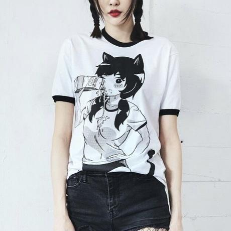 【OMOCAT】MILK GIRL White Ringer Shirt