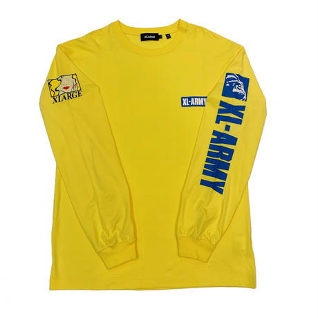 """XLARGE """"L/S TEE XL-ARMY"""" YELLOW"""
