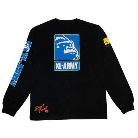 "XLARGE ""L/S TEE XL-ARMY"" BLACK"