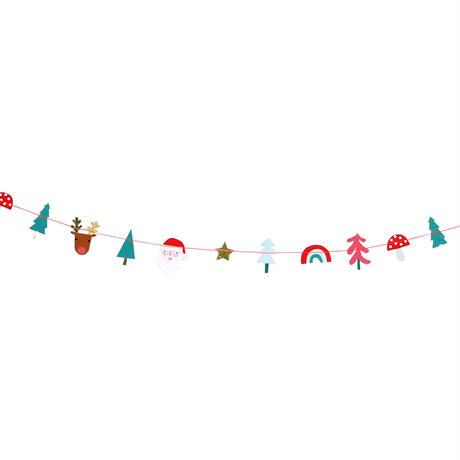 【メール便対応】MeriMeri ミニガーランド /X'masサンタ・トナカイ・キノコ・森の木々/約1.8m [MM0101-45-3081]