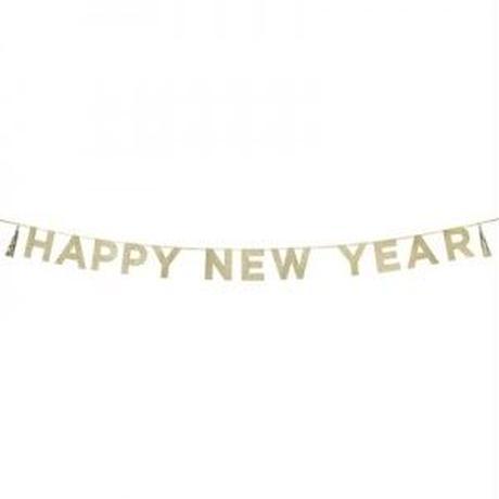 【メール便対応】Talking Tables パーティーバナー/ゴールド/HAPPY NEW YEAR  [TT0101-SAY-HNY]