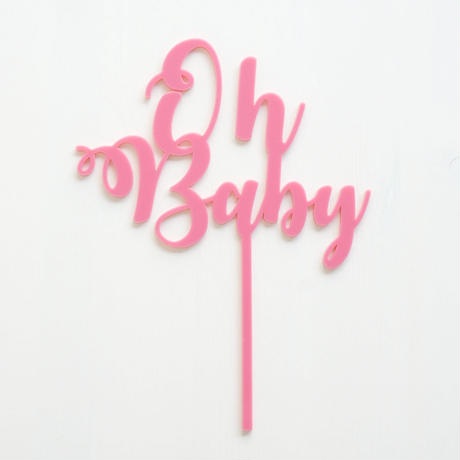 【SOCO'sセレクトシリーズ】アクリル スクリプトケーキトッパー/Oh Baby/ピンク[ZZ0903-SC320P]