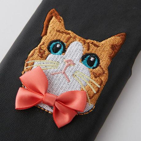ネコ刺繍  iPhoneケース