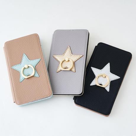収納・スマホリング付 スターiPhoneケース(リングスタンド機能付)
