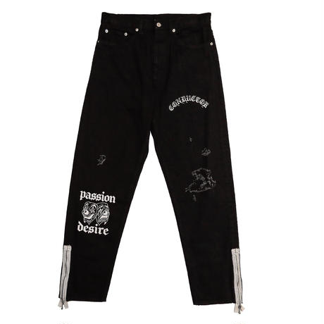 COTTON PRINTED LOOSE FIT JEAN TROUSERS