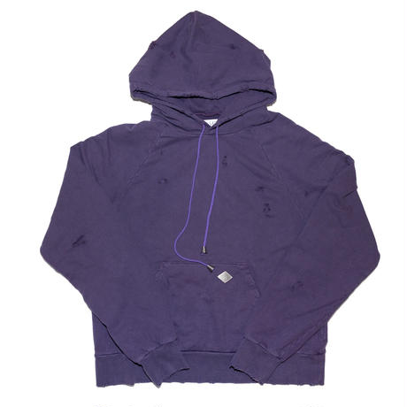 COTTON DAMAGED HOODED SWEATER(PPL)
