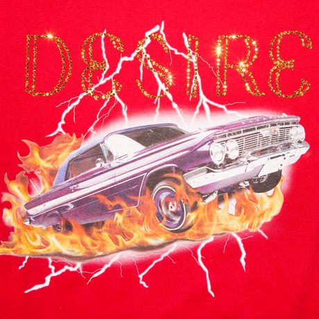 STONE DECORATION T-SHIRT 'THE CAR RED
