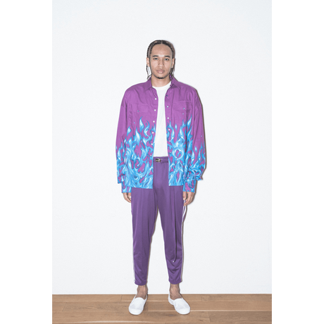 DOUBLE LINE JERSEY TROUSERS 'RELAX(PURPLE)