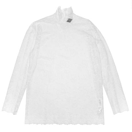 FLOWER LACE TURTLE NECK  TOP(WHITE)