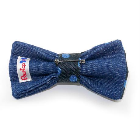 Patriqo  Dot × Denim Bowtie [Blue] ドット×デニム蝶ネクタイ (ブローチ)