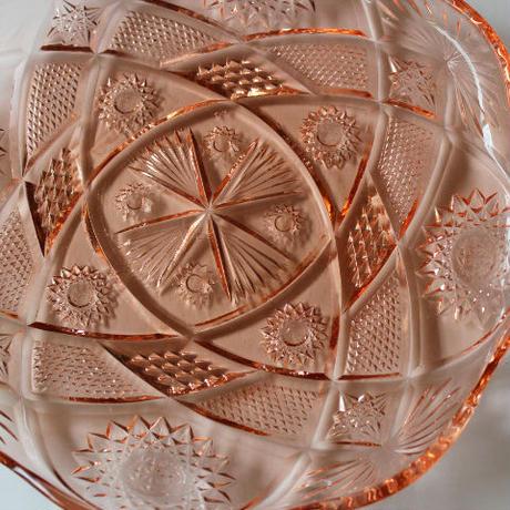 昭和レトロ・プレスガラスの大皿(akane)