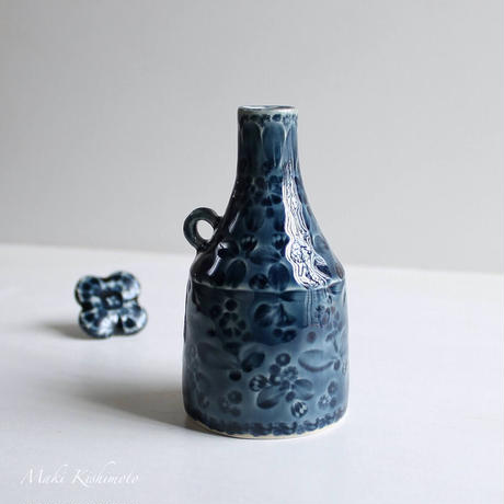 Nさま専用・mori de nohara de「キャップ付き花器(紺色)」