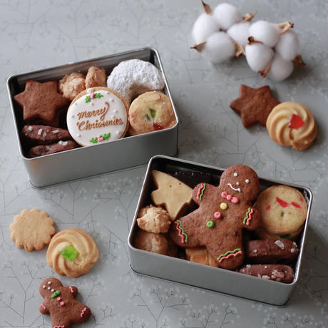 COOKIE ART PARTY)クリスマスクッキー缶(S)-ジンジャーマン- *受注制作 *送料込