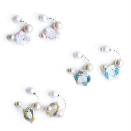 HEXAGON HOOP PIERCE / EARRING (light colour)