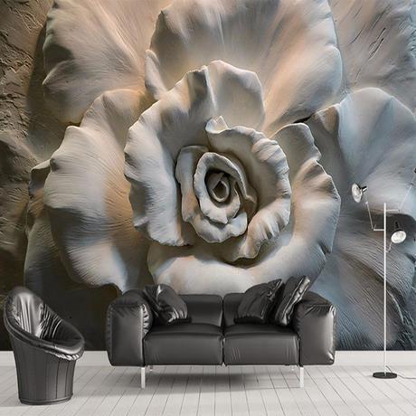 カスタム壁画 壁紙 3D レリーフ ローズフラワー リビングルーム ソファ テレビ 壁画 家の装飾 544 7/17