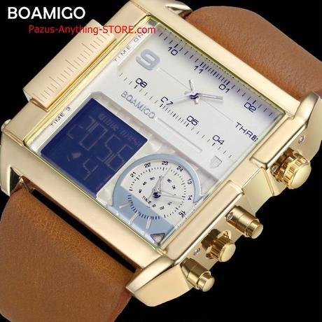 男性スポーツミリタリー クロノグラフデジタル時計 革 長方形 クォーツ腕時計 1714 9/25