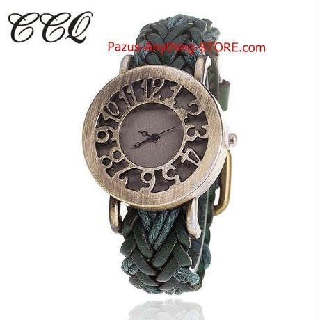 女性ヴィンテージクォーツ時計 牛革ブレスレット 編組 女性ドレス腕時計 1784 9/25